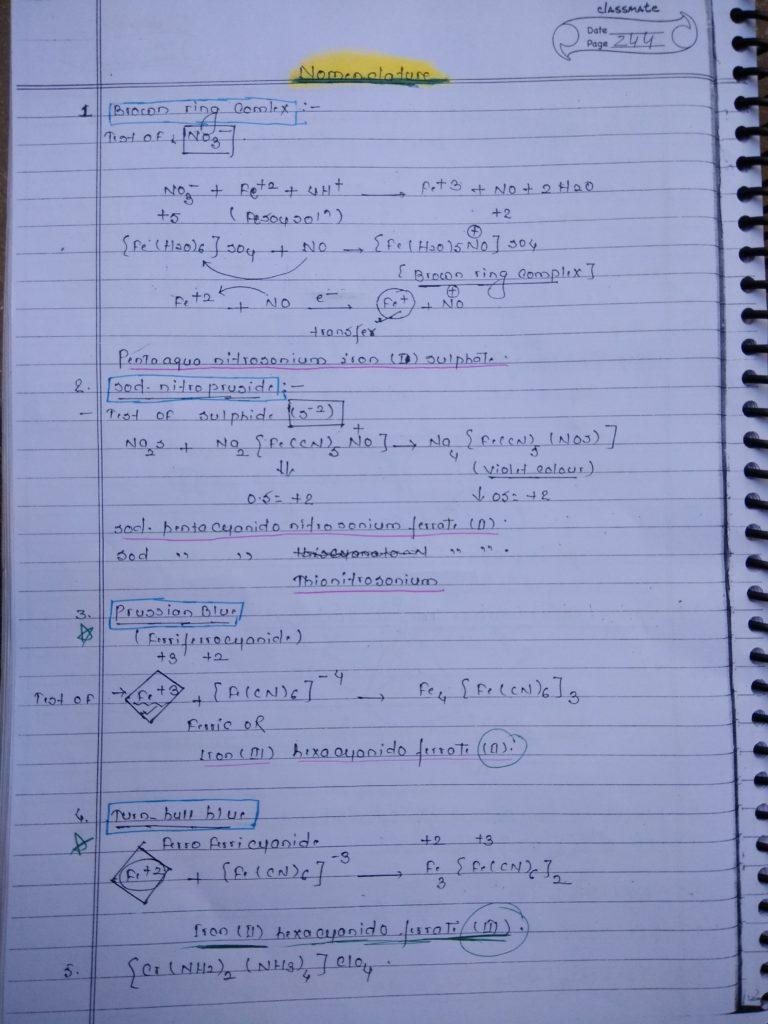 Coordination compound NOMENCLATURE Notes 1