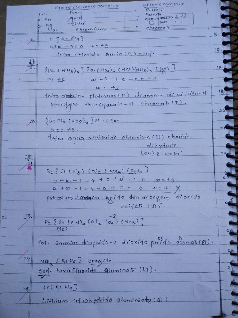 Coordination compound NOMENCLATURE Notes 3