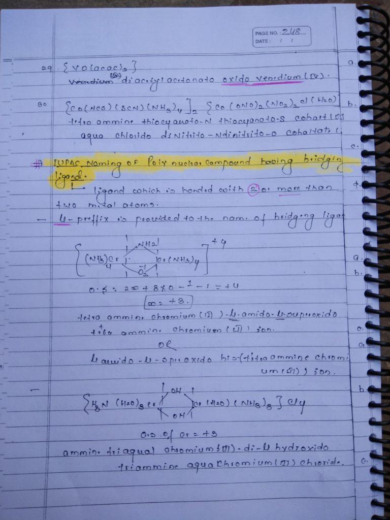 Coordination compound NOMENCLATURE Notes 5