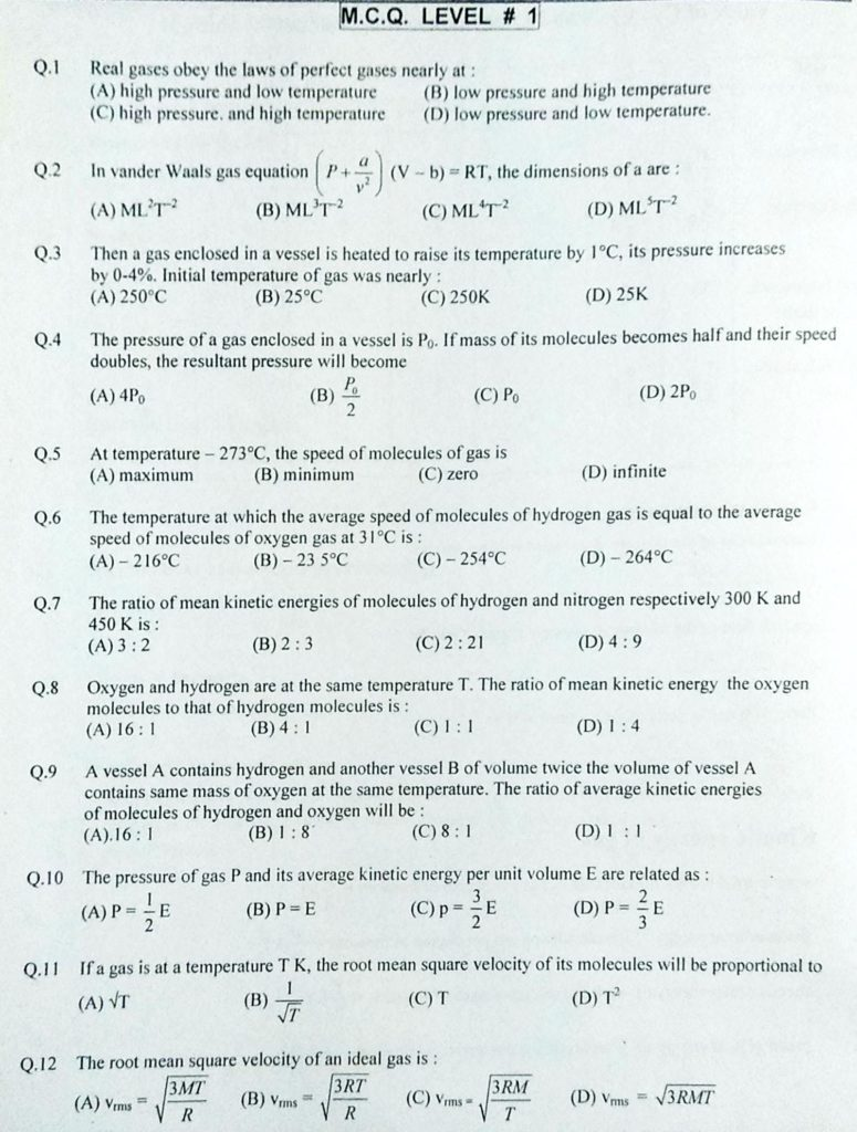 Kinetic theory of gases MCQ (1)