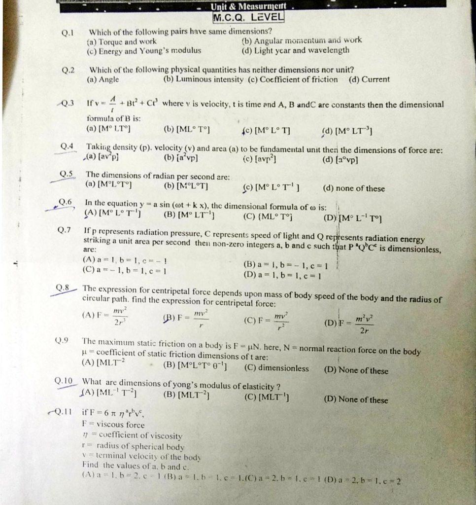 Unit and dimensions MCQ (1)