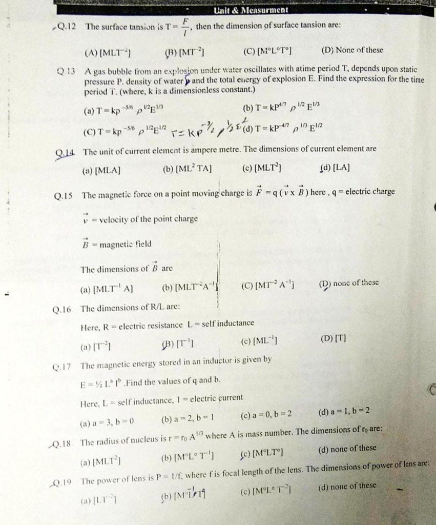 Unit and dimensions MCQ (2)