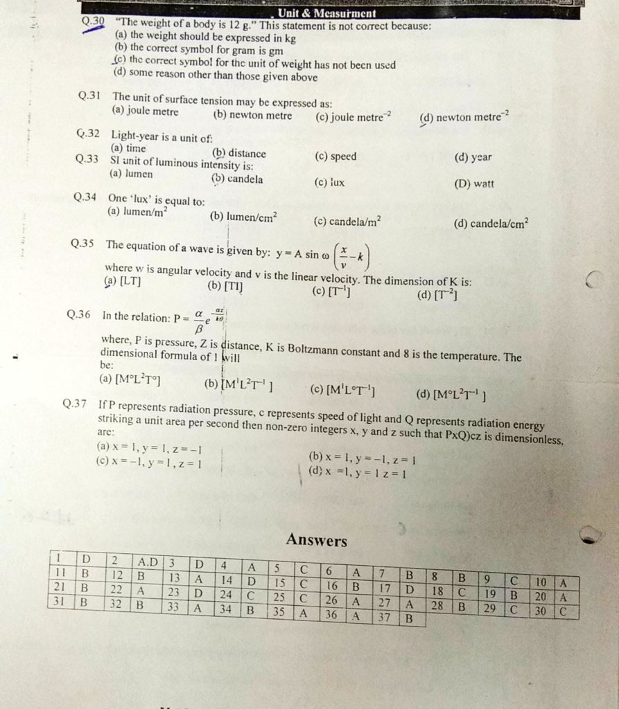 Unit and dimensions MCQ (4)