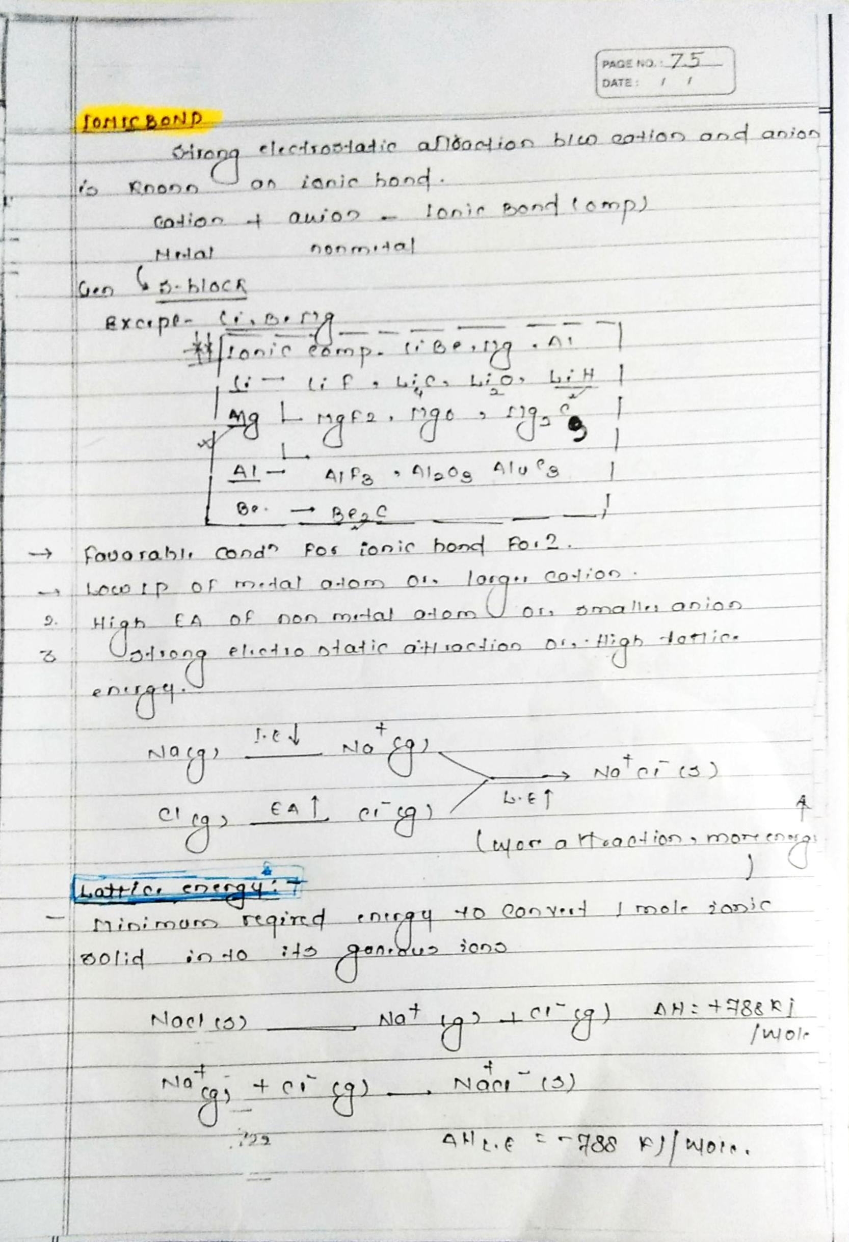 Chemical bonding ionic bonds notes handwritten notes for