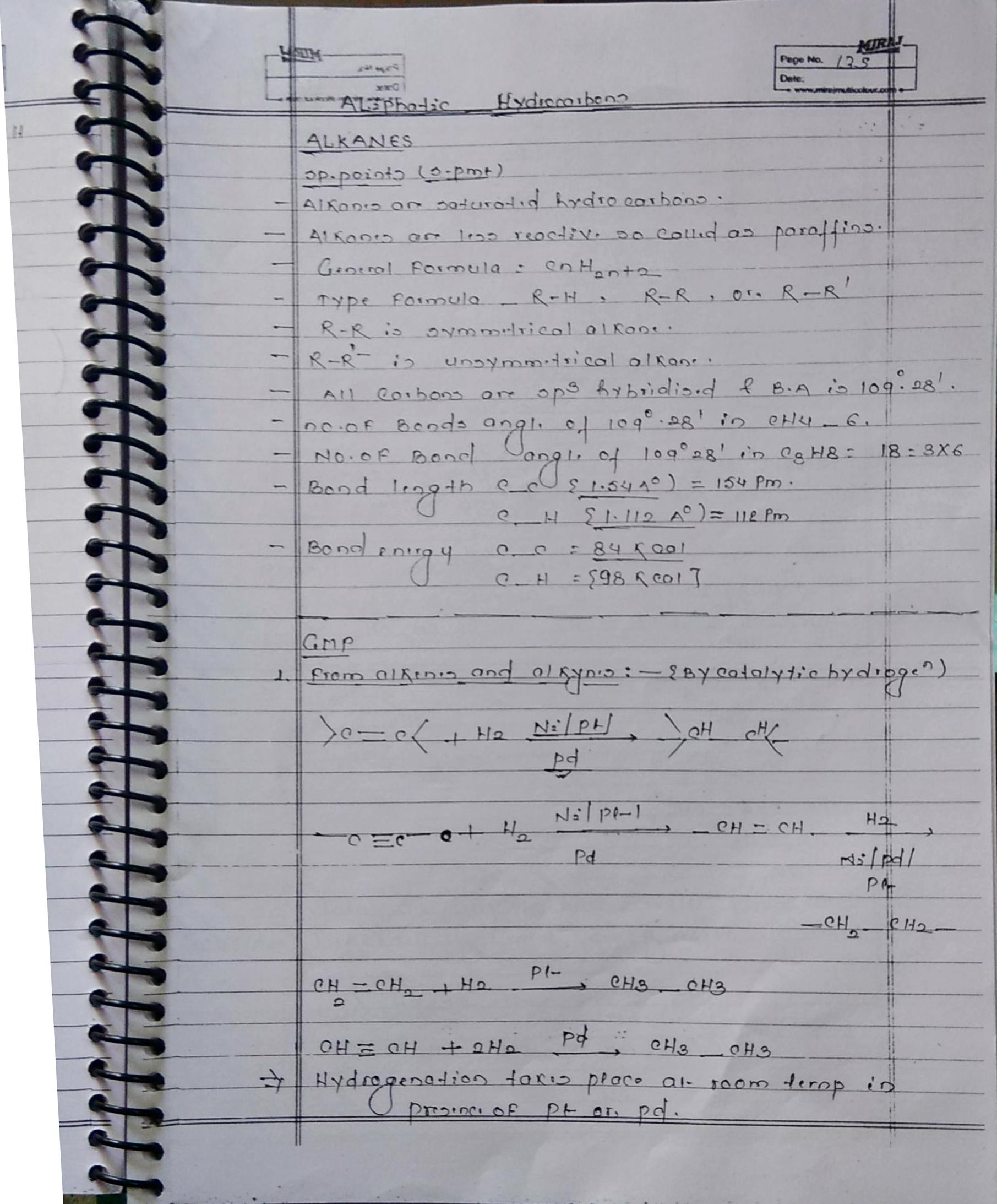 Organic Chemistry Hydrocarbon Alkane notes handwritten notes for