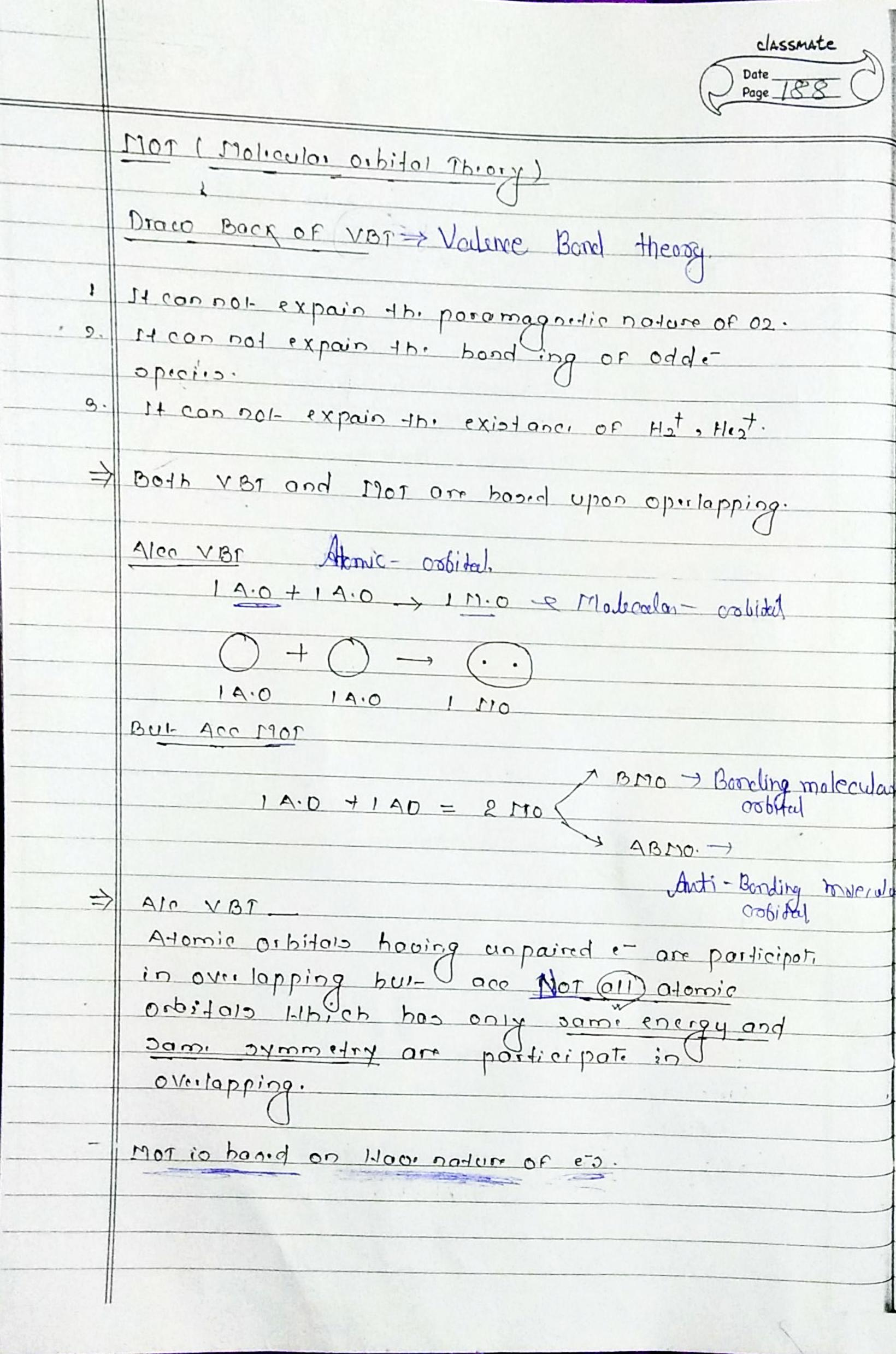 chemical bonding molecular orbital theory notes for neet and jee