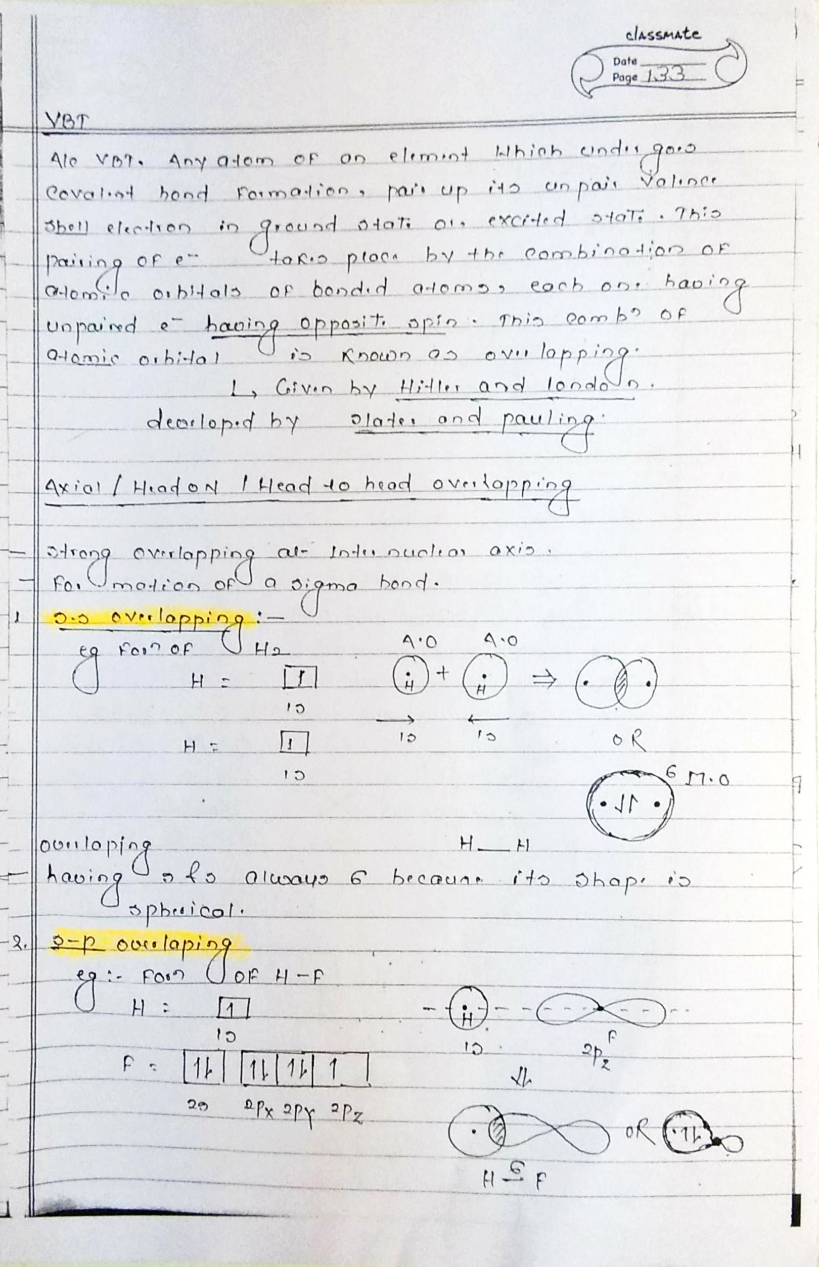 chemical bonding valence bond theory notes handwritten note