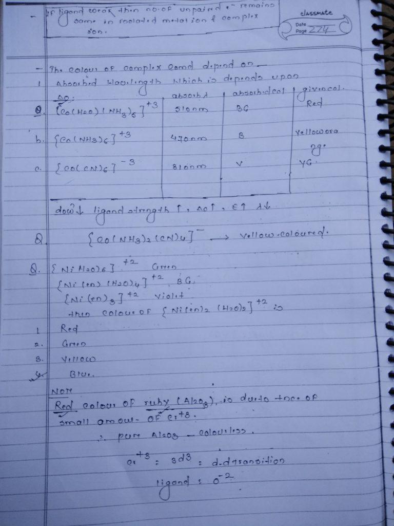 Coordination compound Colour 2
