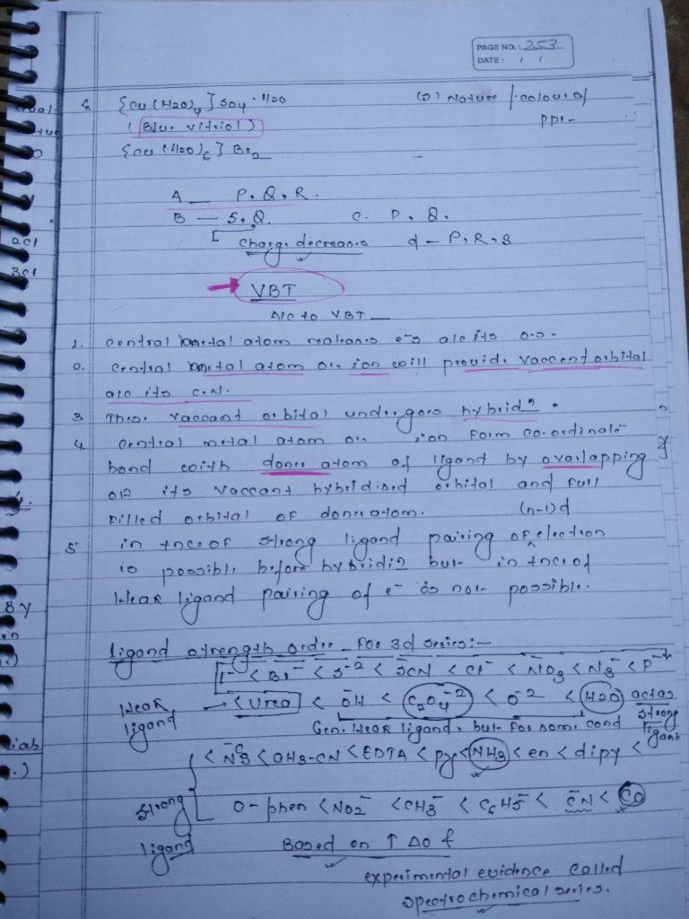 Coordination compound HYBRIDIZATION Notes