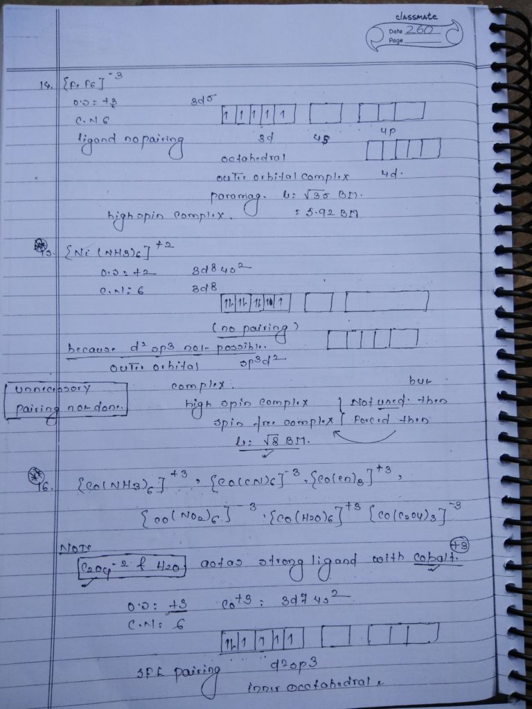 Coordination compound HYBRIDIZATION Notes8