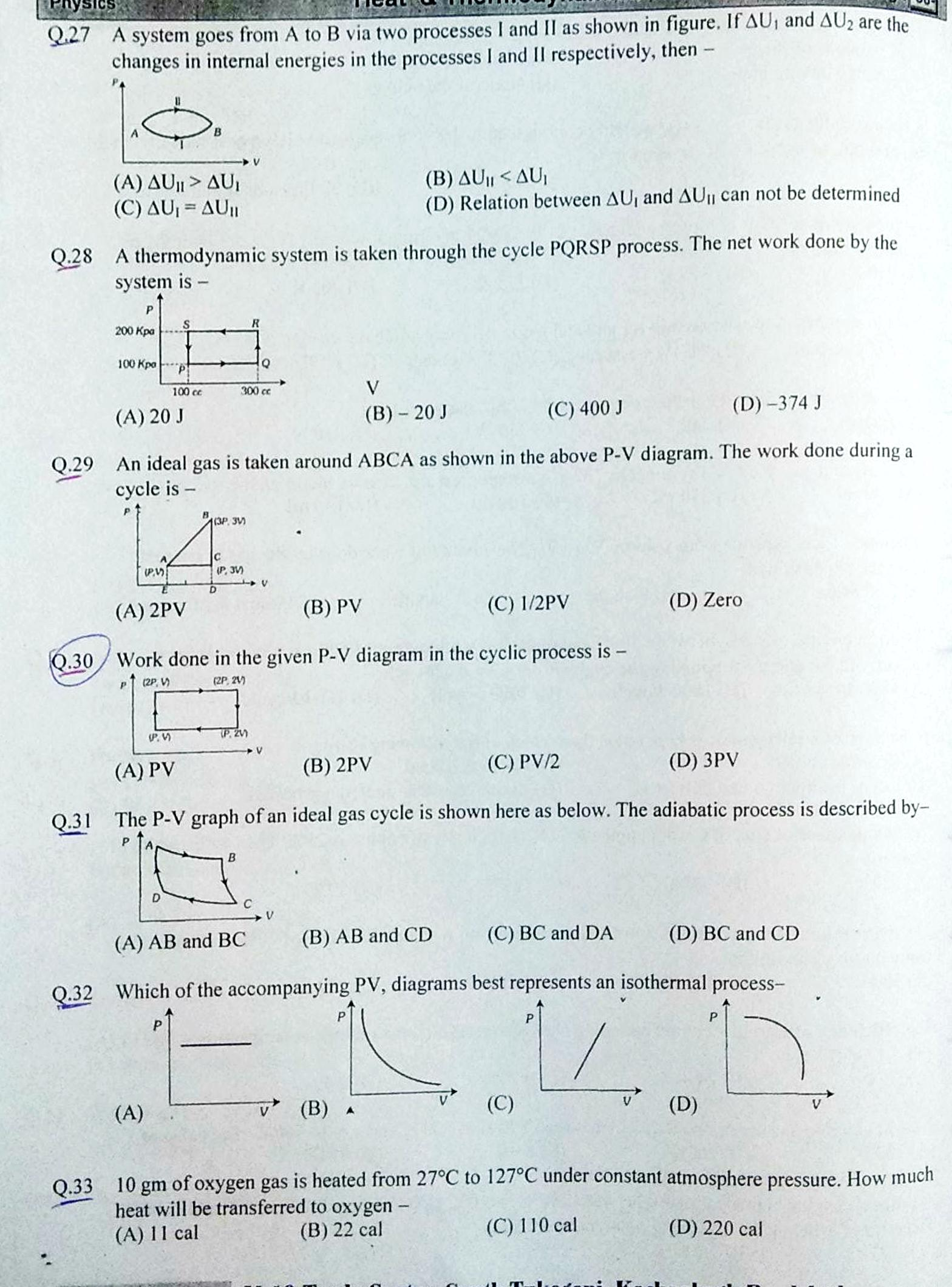 PHYSICS Thermodynamics Notes and MCQ for NEET and JEE