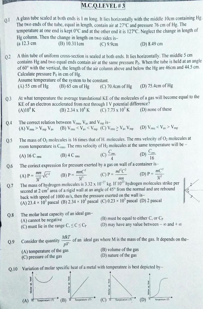 Kinetic theory of gases MCQ (6)