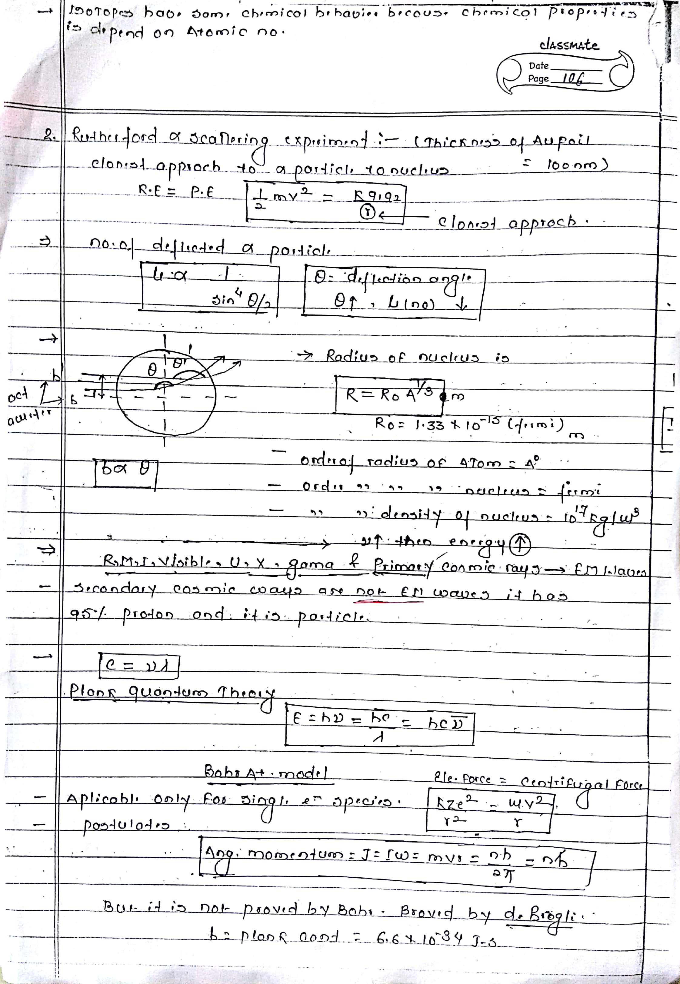 ATOMIC STRUCTURE HANDWRITTEN NOTES FOR NEET, AND IIT-JEE