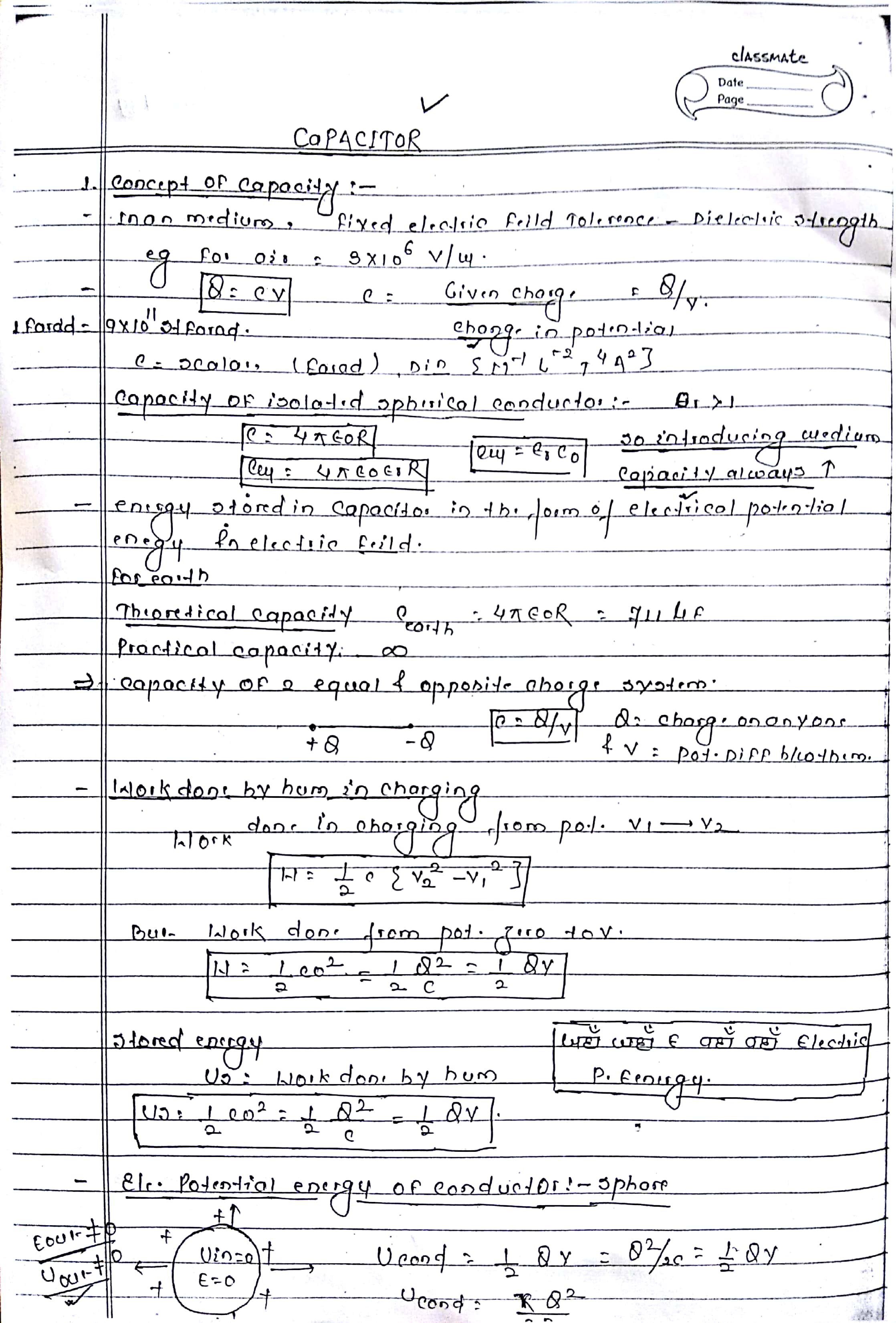 CAPACITOR HANDWRITTEN NOTES FOR NEET, AIIMS AND IIT-JEE