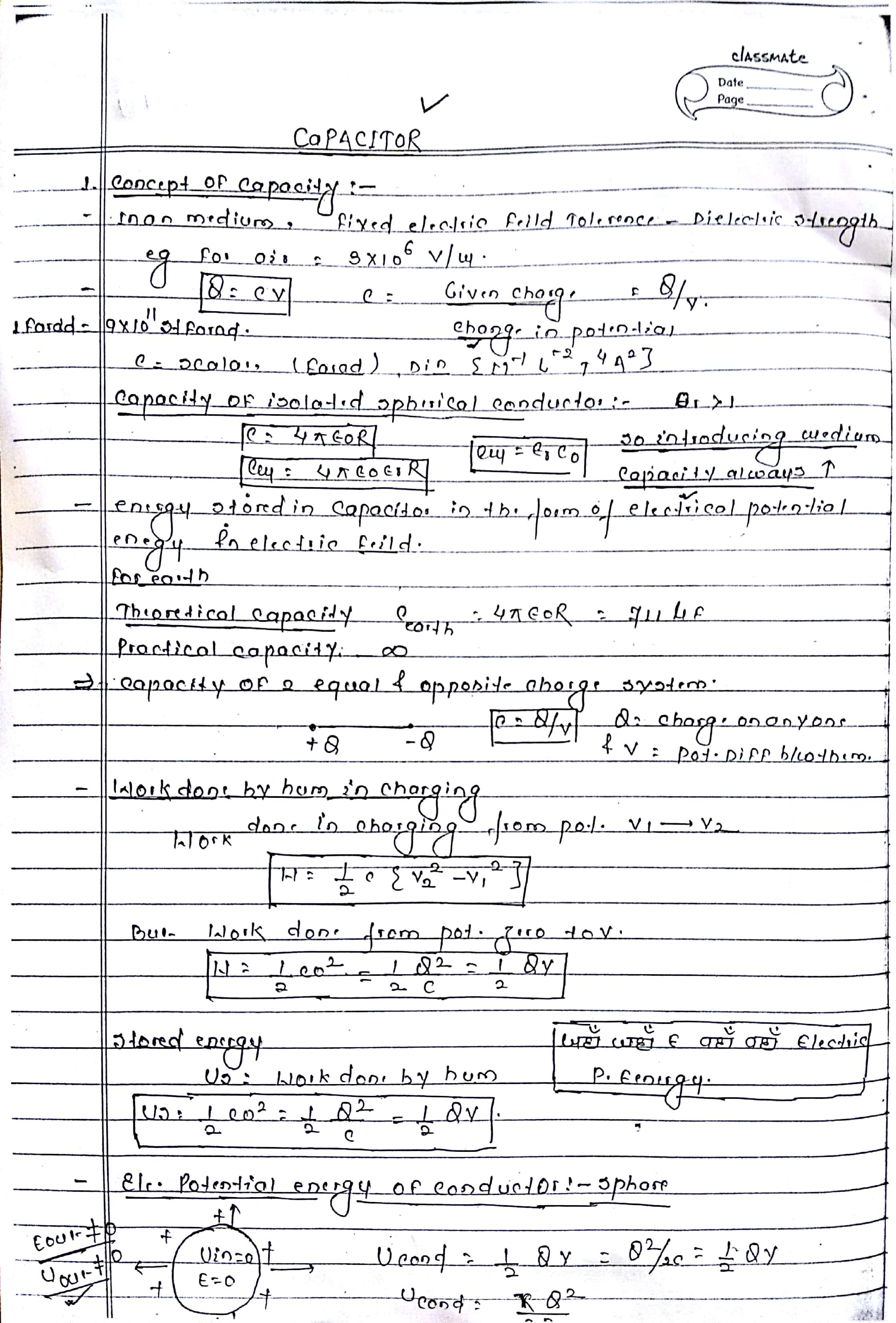 CAPACITOR HANDWRITTEN NOTES 1