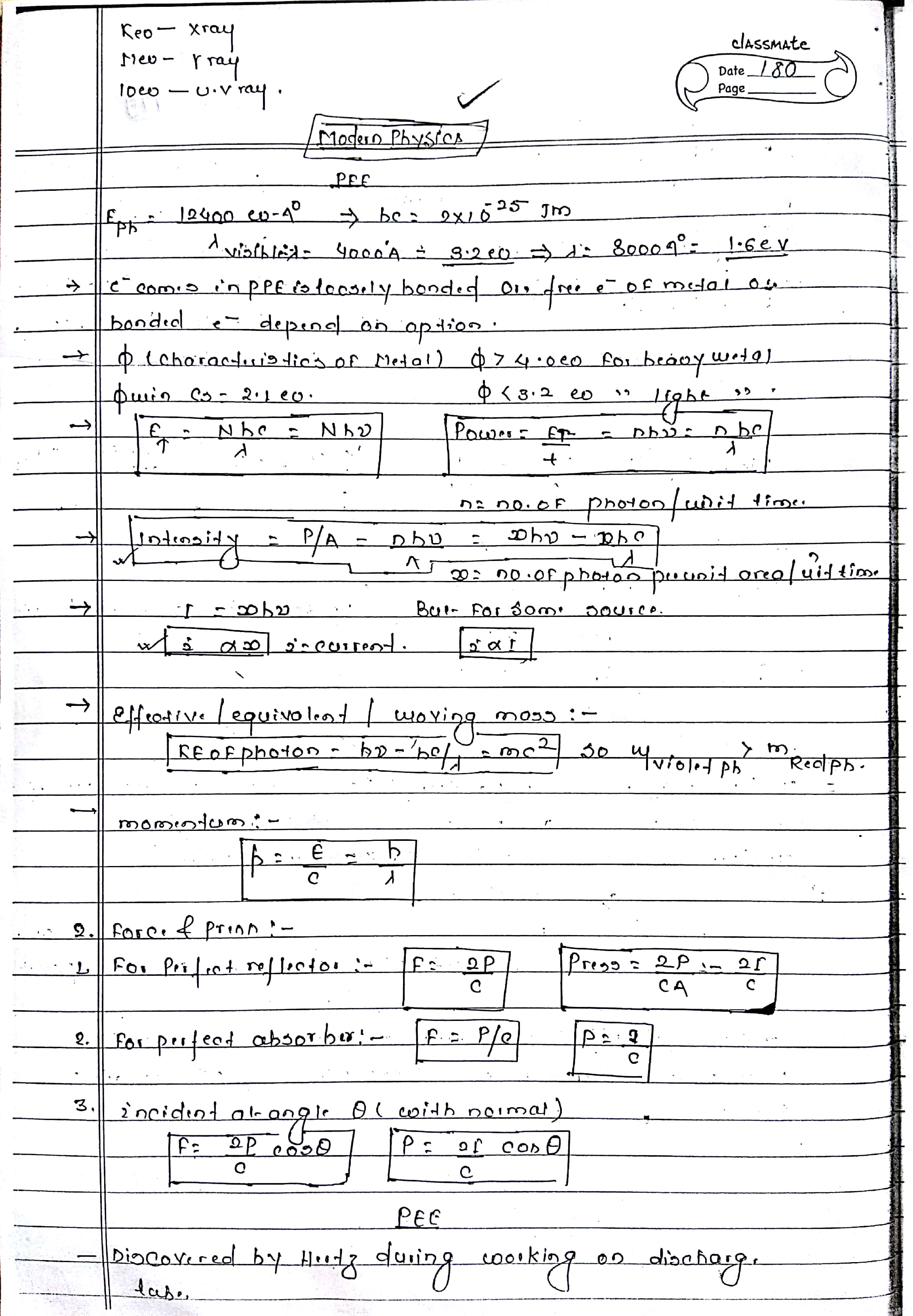 MODERN PHYSICS NOTES FOR NEET, AIIMS AND IIT-JEE