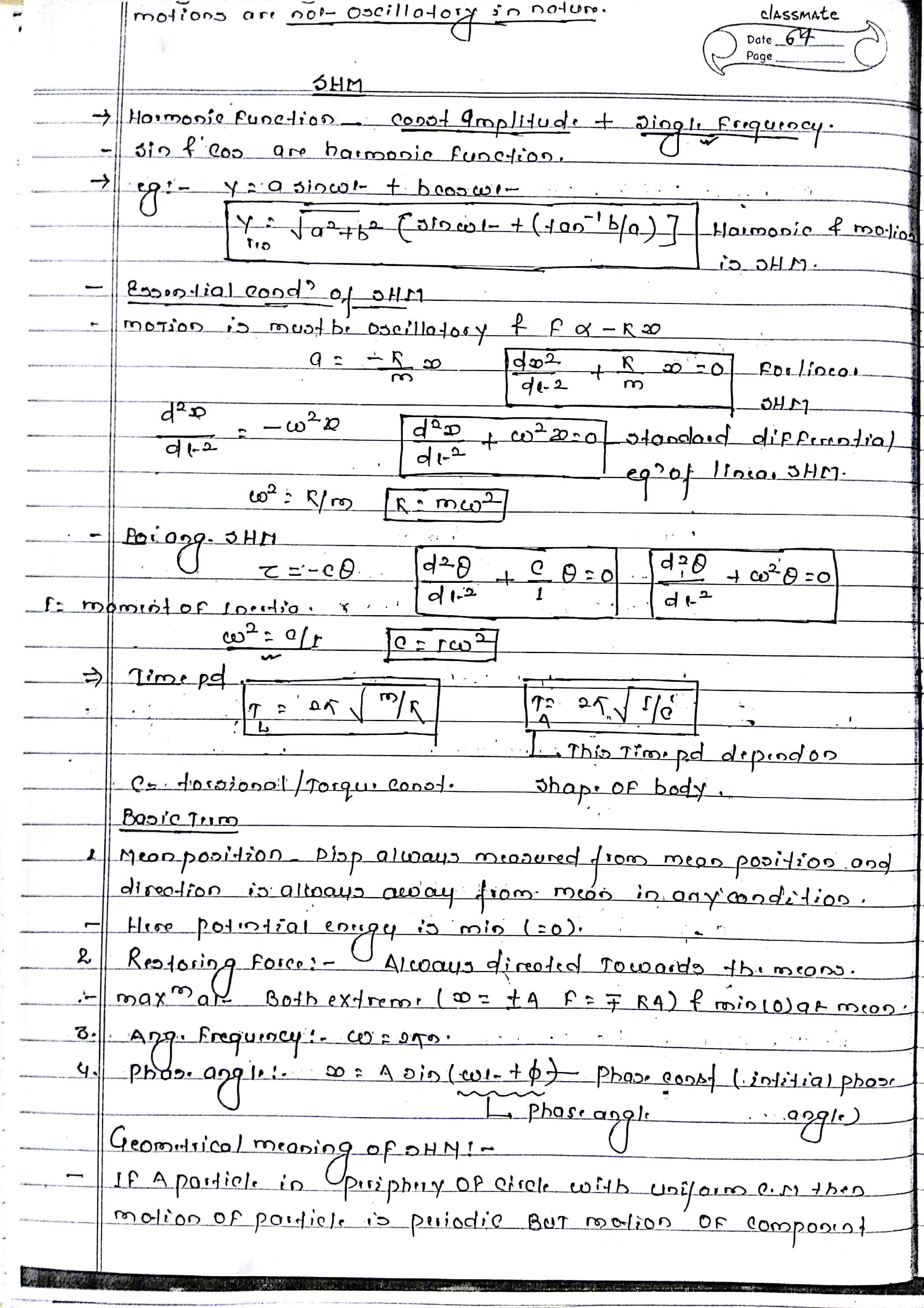SHM (OSCILLATION) NOTES FOR NEET, AIIMS AND IIT-JEE